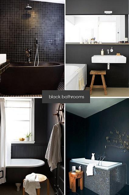 aranżacje czarnej łazienki