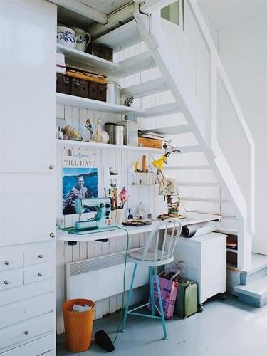 kącik biurowy pod schodami