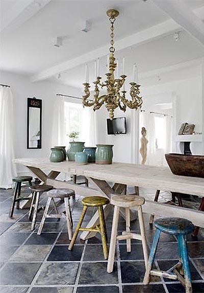 jadalnia w stylu shabby chic, industrialne stołki,beżowe meble,turkusowe krzesła,żółte krzesła,jadalnia vintage