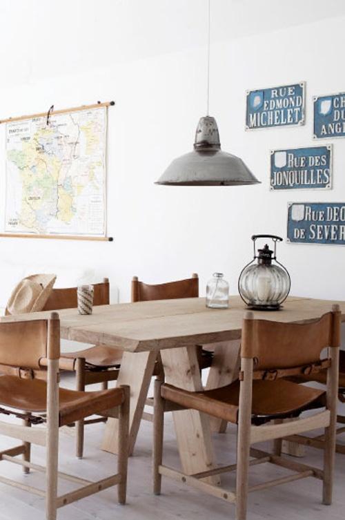 jadalnia w stylu vintage, industrialne meble,rustykalne krzesła