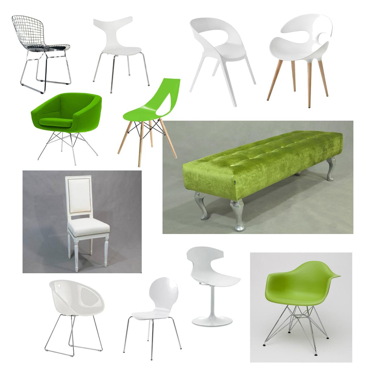 biale krzesła, zielone krzesła,zielona ławka,zielony fotel,druciane krzesła