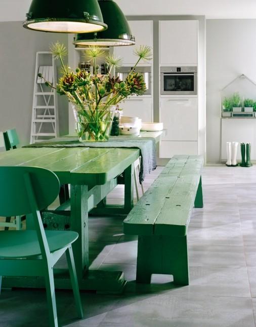 turkusowe meble,zielona ławka,turkusowa ławka,turkusowy stół,zielone wętrze