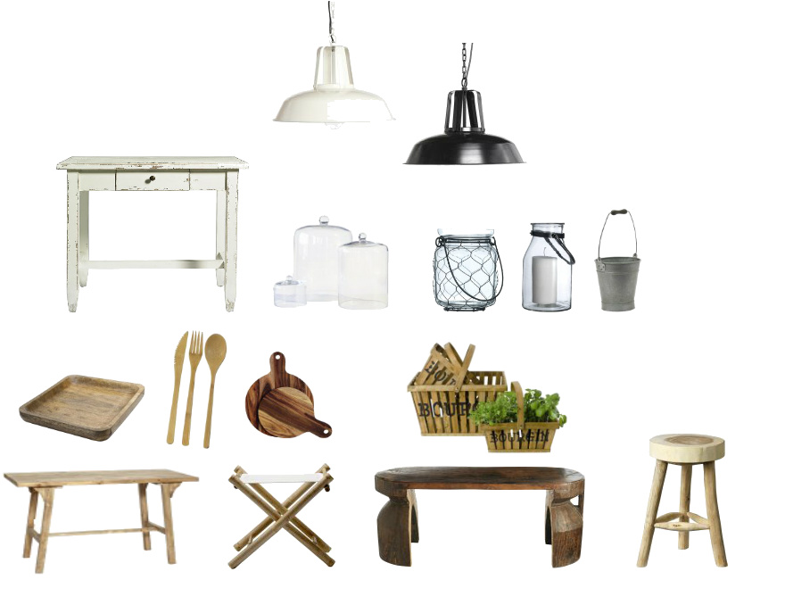 tablica produktów z drewna,drewniane dodatki,drewniane meble,industrialne lampy,ocynkowane dekoracje,stoły,taborety z drewna,słoiki,lampiony
