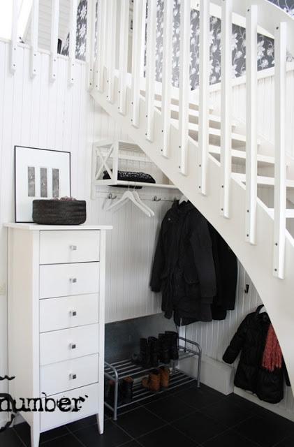 miejsce na kurtki pod schodami