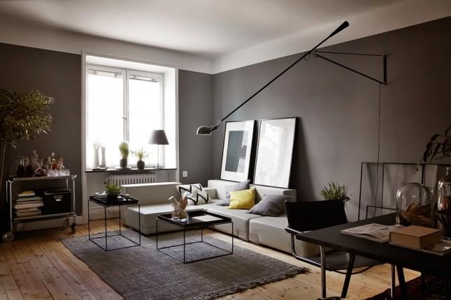 szare wnętrze,szara aranżacja,salon w szarym kolorze,salon z jadalnią,szare inspiracje,szare ściany,grafitowe ściany,odcienie szarości