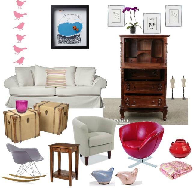kolonialna witryna,sekretarzyk,czerwony fotel,szare krzesło na płozach,nowoczesne krzesło,stolik pomocniczy,drewniany postment,stolik kawowy,kufer,skrzynia,różowe naklejki,ptaszki,nowoczesne grafiki,biały fotel,meble tapicerowane,porcelanowe figurki,różowy koc,pled,czerwona porcelana,wazon