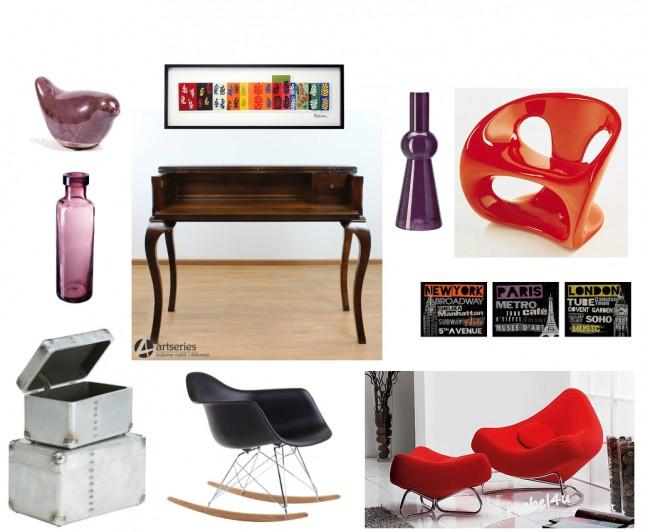 kolonialne biurko,sekretarzyk,awangardowy,nowoczesny fotel,czerwony fotel,czarne krzesło na płozach,srebrne kufry,typografie,grafiki na ścianę,wrzosowe dodatki,dekoracje