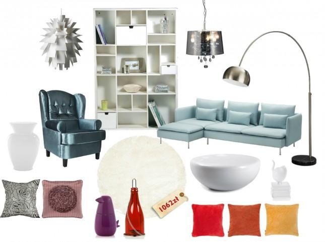 srebrna duża lampa podłogowa,stylowy żyrandol.kryształkowy żyrandol lampa,prowansalski  fotel,okrągły,biały dywan,nowoczesna biała ława,stolik z tworzywa,   poszewki,rózowe poduszki,pomarańczowe poduszki,stylowe figurki,regał z półkami,biblioteczka,okrągły stolik kawowy,czerwona butelka,świecznik ze szkła,wrzosowy pojemnik