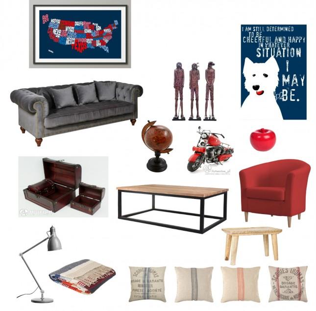 granatowe,czerwone grafiki,obrazy,figurki psów,stylowa,szara,aksamitna,pikowana  sofa,grewniany globus,stylowy globus,drewniane,brązowe,stylowe,kolonialne kuferki,industrialna ława,industrialny stół,czerwony,tapicerowany w tkaninie fotel,szara,nowoczesna lampka biurkowa,stołowa,industrialne poduszki,poszewki,drukowane tkaniny,granatow-biao-czerwony pled,pled w paskidrewniany taboret,figurka motocykl,czerwone jabłko