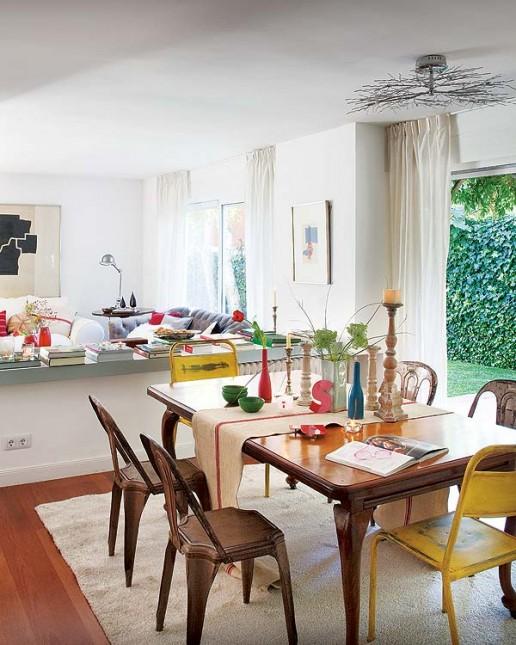 salon z jadalnią,klasyka ze stylem industrialnym