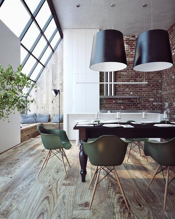 loft cegły w kuchni