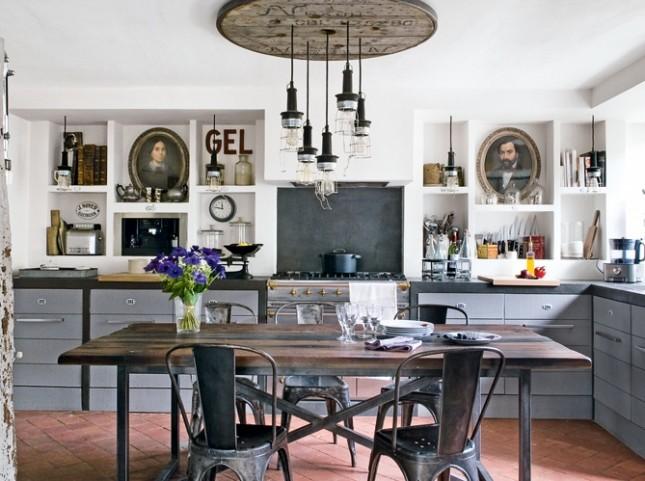 aranżacje kuchenne,kuchnia w stylu industrialnym,szara kuchnia,industrialne meble,kuchnia w stylu vintage,betonowe półki w kuchni,murowane półki w kuchnizabudowa półkek w kuchni,jak zabudować półki w kuchni,stałe półki w kuchni,białe półki w kuchni