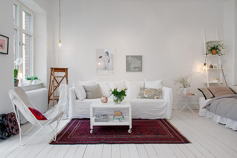 biały skandynawski salon