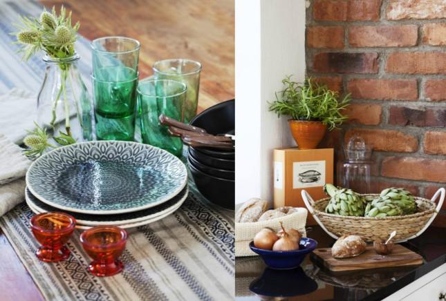 naczynia kuchenne,talerze,niebieskie detale w kuchni,drewniane akcesoria kuchenne,kuchenne wyposażenie