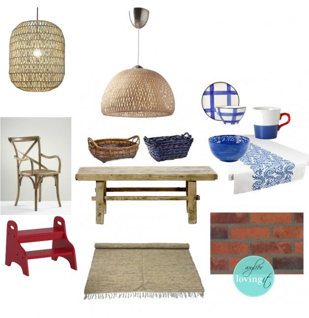 biało-niebieskie naczynia i talerze,rustykalne meble i dekoracje w skandynawskiej jadalni,skandynawska kuchnia z rustykalnymi detalami,plecione lampy z bambusa,wikllinowe abażury,niebieska porcelana, krzesło z giętego drewna,prosty drewniany stół,biało-niebieska serweta na stół,czerwona cegła,belgijska cegła na ścianę,okładziny z czerwonej cegły,czereony stołek schodek,stolek do kuchni,tkany dywan,skandynawski bezowy dywan,granatowy koszyk,brązowy koszyk