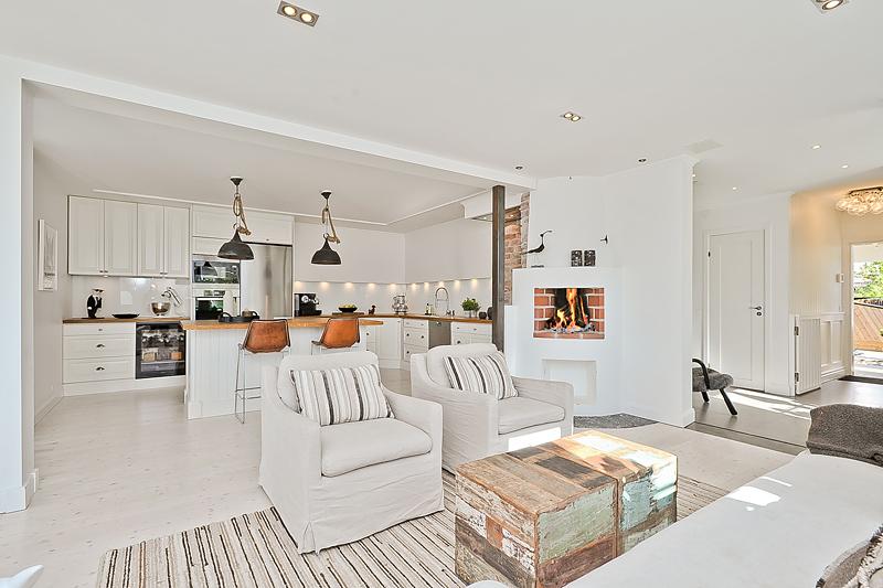 Jak urządzić salon z kominkiem i kuchnią? -> Salon Z Kuchnią Aranżacja Inspiracje