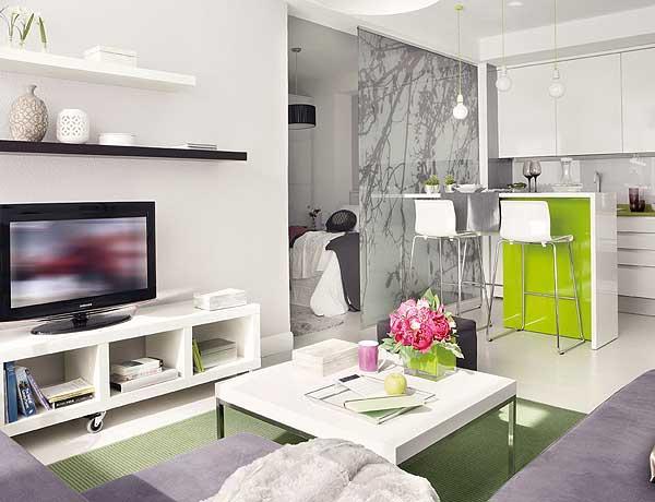 szaro-zielone wnętrze,otwarty salon z kuchnią i sypialnią,limonkowo-szare mieszkanie,małe mieszkanie,jak urządzić ciekawie małe mieszkanie,lada kuchenna w limonkowym kolorze,zielony kolor we wnetrzach,jak urzadzić mały salon,tanie meble do mieszkania,szklana ściana dzielaca kuchnie od sypialni,pomysł na aranżację małego mieszkania