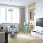 Znakomity pomysł na aranżację małego mieszkania o powierzchni 45 m2 – prosty, kreatywny i pastelowy.