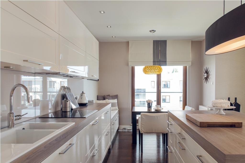 Aranżacja mieszkania w stylu nowojorskim -> Kuchnia Polysk Kawa Z Mlekiem