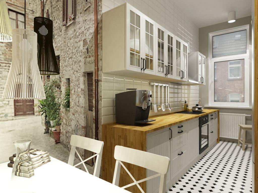 Jak urządzić wąską kuchnię w kamienicy? -> Fototapeta Stara Kuchnia