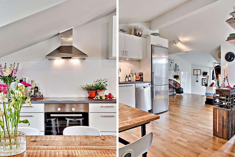 Zdjęcia wnętrz na poddaszu w jasnych kolorach i drewnianą   -> Kuchnie Na Poddaszu Z Jadalnia