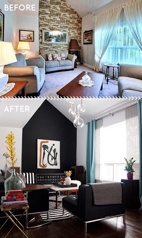 aranżacja wysokiego salonu before & after