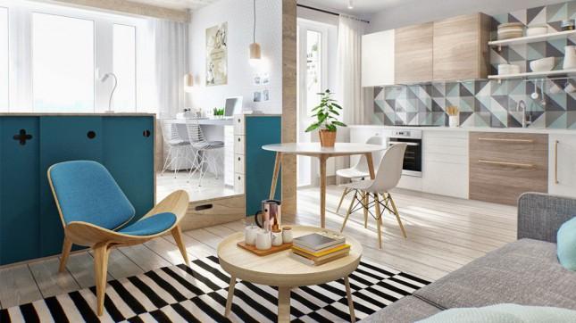 skandynawskie mieszkanie w otwartej zabudowie,niebieskie meble w skandynawskiej aranżacji,dywan w czarno-białe paski,drewniany nowoczesny fotel,okragły biały stolik w stylu skandynawskim,białe krzesła na drewnianych nóżkach z metalowymi pretami,nowoczesne krzesła vitra,drewniany nowoczesny stolik kawowy z tacą,projekt 3d mieszkania w stylu skandynawskim,otwarty widok mieszkania małego,małe mieszkanie ,jak urządzić małe mieszkanie