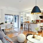 Romantyczna aranżacja skandynawskiego mieszkania z oryginalnymi dodatkami w każdym wnętrzu