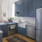 Before & after kuchni w kolorze, czyli przemiana ze standardowej zabudowy w morską odważną przestrzeń :)