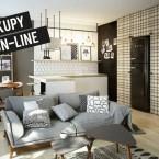 Nowoczesna aranżacja małego mieszkania w szlachetnych odmianach szarości, brązu i  czerni – zakupy online