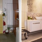 Before & after małej polskiej kawalerki o powierzchni 30 m2 z czerwonymi cegłami i ciemnym drewnem