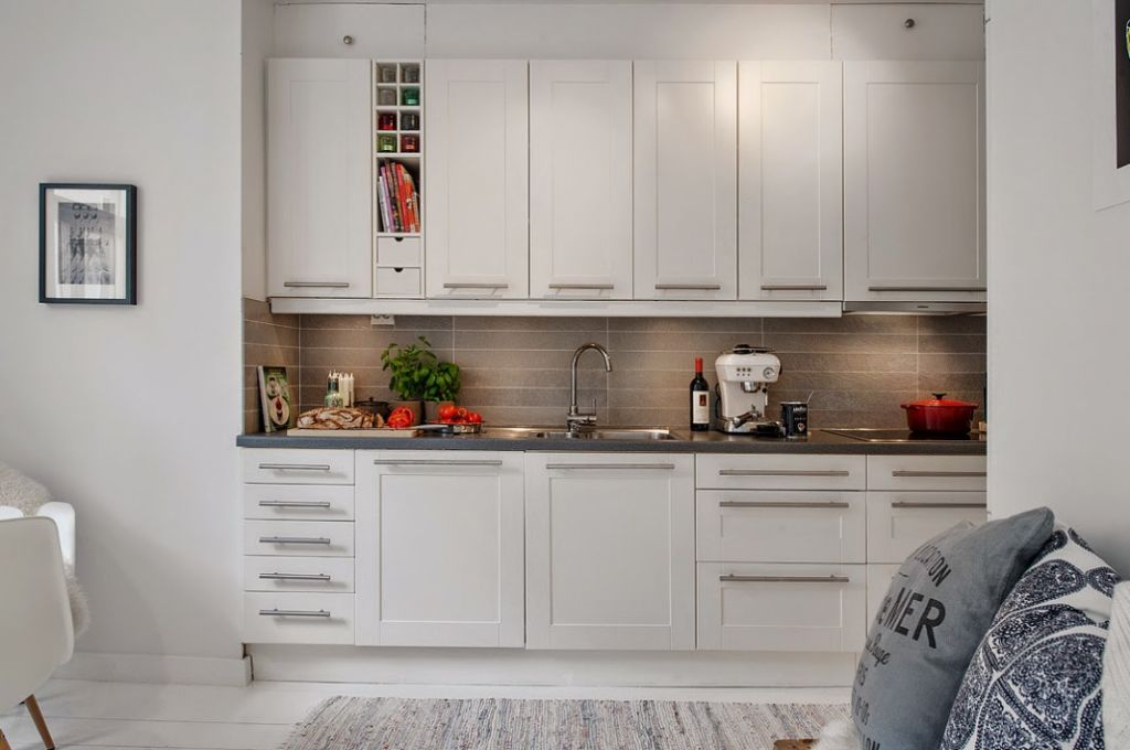 Jak fajnie urządzić mieszkanie w bloku z białą podłogą w skandynawskim stylu? -> Kuchnia W Bloku W Stylu Skandynawskim