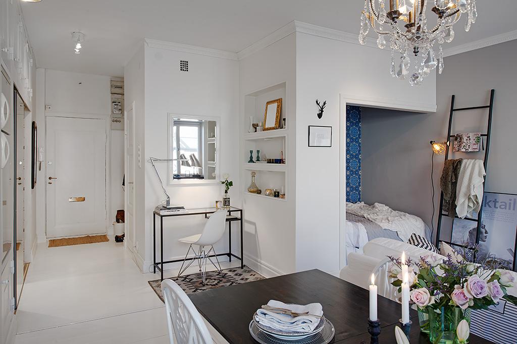 decoracao rustica kitnet : decoracao rustica kitnet:Małe mieszkanie w stylu skandynawskim ze ścianą z cegły,ciekawymi