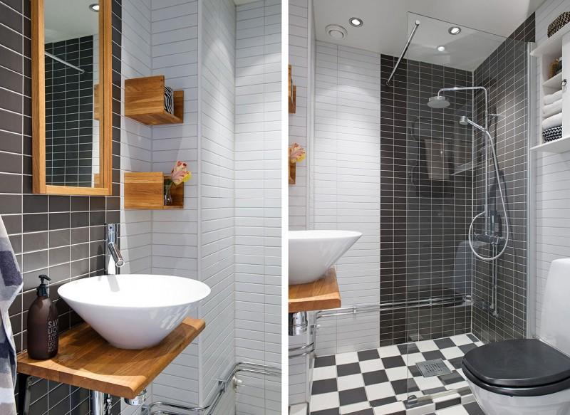 Czarna łazienkaczarno Biała łazienkadrewniane Zdjęcie W