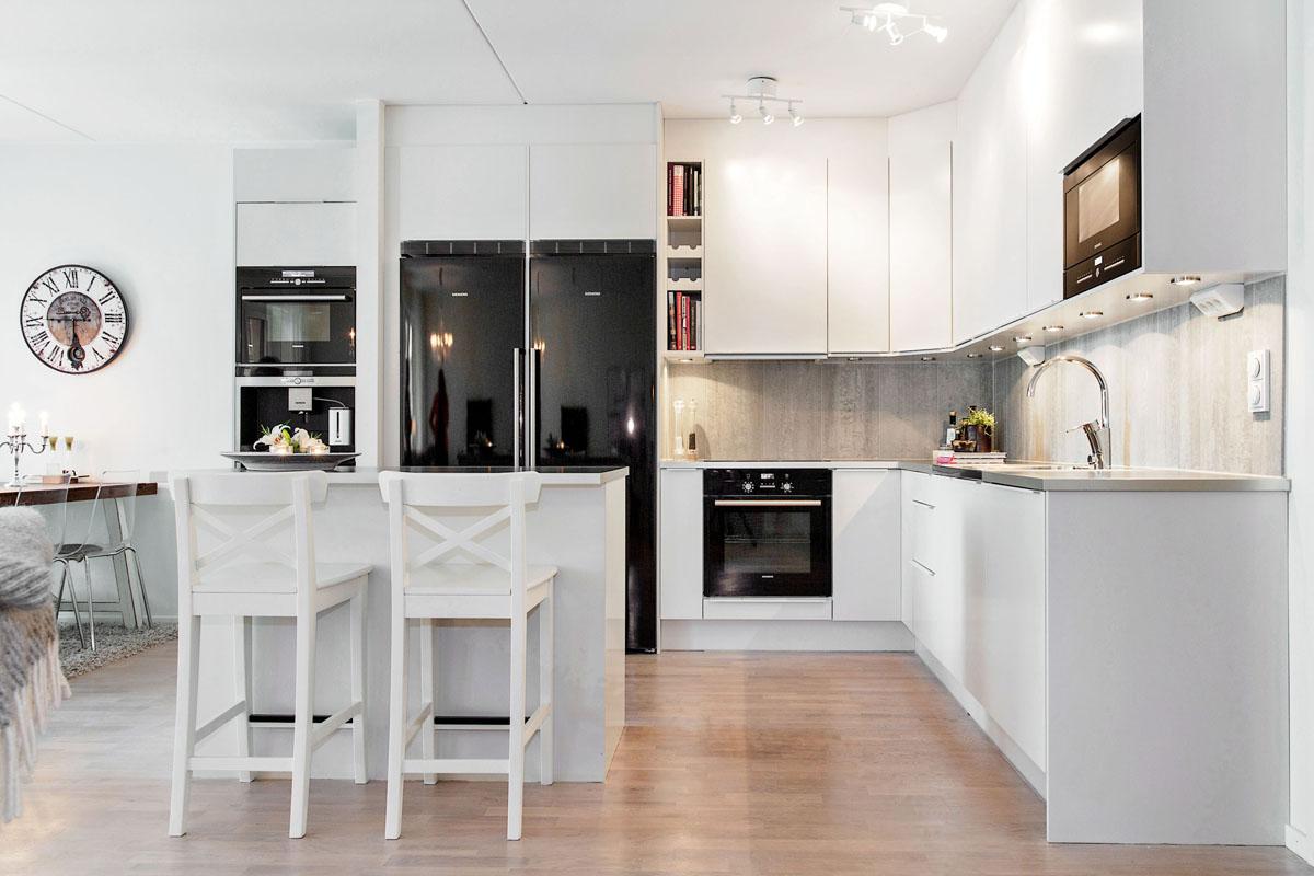 Jak połączyć styl nowoczesny, skandynawski i klasyczny w mieszkaniu w odcieni   -> Kuchnia Z Jadalnia Skandynawska