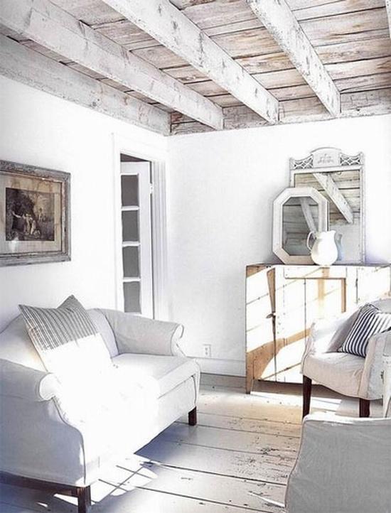 Belki drewniane na suficie galeria zdj for White beams living room