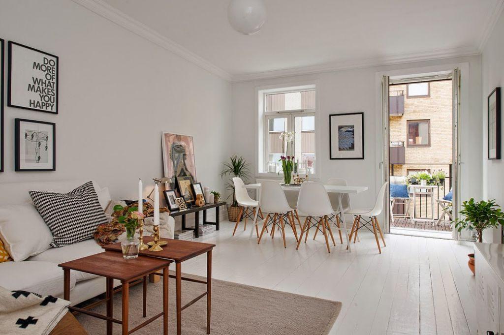 Przytulne mieszkanie w stylu skandynawskim z podłogą z białego