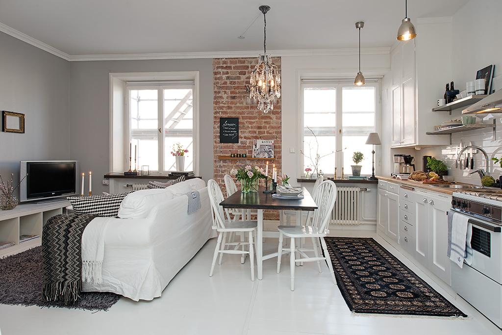 Ma e mieszkanie w stylu skandynawskim ze cian z ceg y for Decoracion piso 35 metros