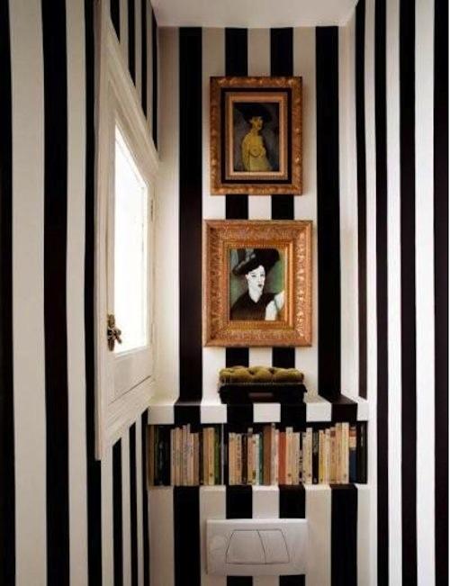 Jak urz dzi wn trze z bia o czarnymi pasami - Habitaciones pintadas con rayas ...